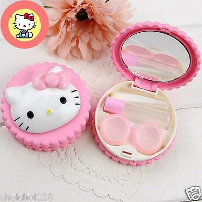 Hello Kitty Cookies Shaped Pink Contact Lens Case Travel Set KK462