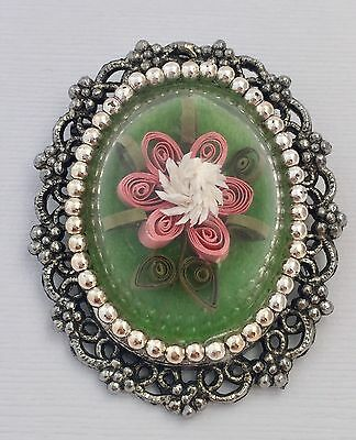 Vintage Jewelry Cameo Brooch With Flowers