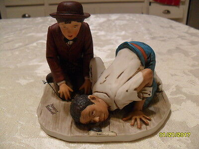 """Norman Rockwell listening figurine, """"The adventures of Huckleberry Finn"""" w/ tag"""