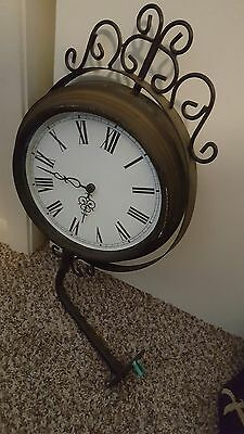 Used Station Thermometer & Clock Rusty Metal Hanging Glass Swivels