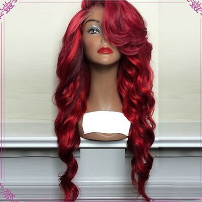Synthetic Wine Red Bangs Long Wave Curly Wig Lace Front Heat Resistant Hair Wigs