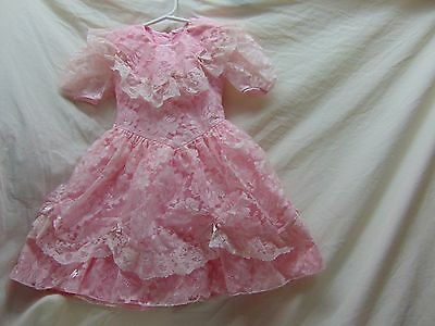 Toddler Girls' Size 2T Fancy Pink Lace/Satin Dress by Peachy Kids-Couple Stains