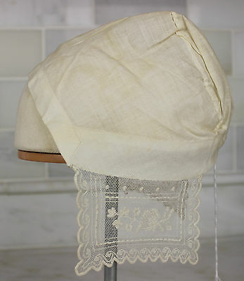 Early Antique White Cotton Baby Cap or Doll Clothes Museum Deaccession