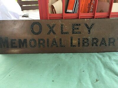 Antique Very Rare Oxley Library Brisbane Brass Advertising Sign