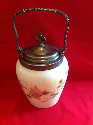 Antique Hand Painted Biscuit Cracker Glass Jar Van Bergh Rochester NY