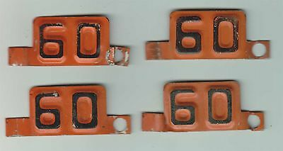 LOT OF 4 - 1960 - WISCONSIN - LICENSE PLATE TABS - USED - GD to VG+
