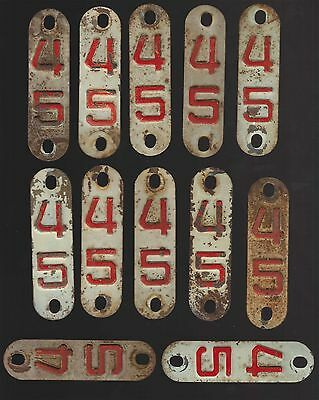 Lot Of 12 - 1945 - Wisconsin - License Plate Tabs - Used