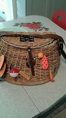 "Fishing Creel Basket Wicker ""gone Fishin""14"" X8"" Hanging Lures,bait,made By Me."