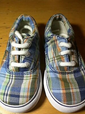 Boys Baby Gap Canvas Madras Tennis Shoes Size 7 Toddler