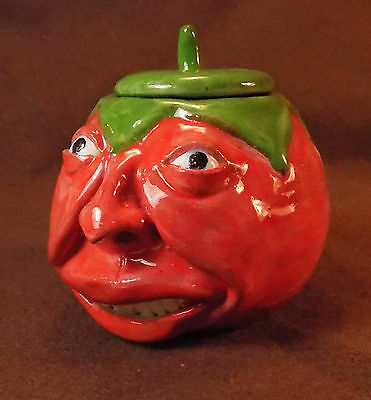 JUICY RED TOMATO - Anthropomorphic Spice Jar/ Fruit Face Jug