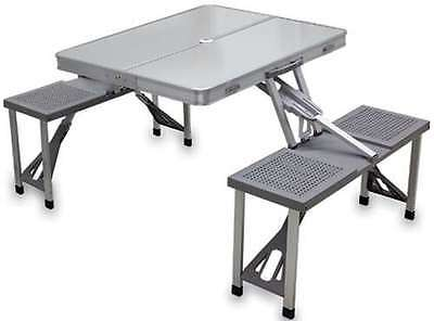 Aluminum Foldable Folding Retro 50s Camping Picnic Table Indoor Outdoor Portable