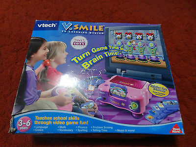 Vtech Vsmile Pink Console System Games Controller And Box  Complete !!!