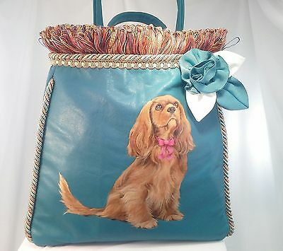 Ruby Handpainted Cavalier King Charlesl Handbag Turquoise Lambskin Leather w/Pin