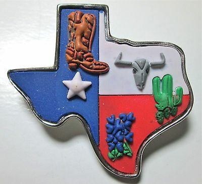 Texas State Colorful Pendant Or Brooch Detailed Vintage