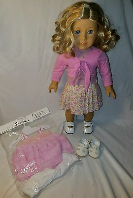 """American Girl doll 18""""JLY56 with stand and extra outfit&shoes NO X NO BOX"""