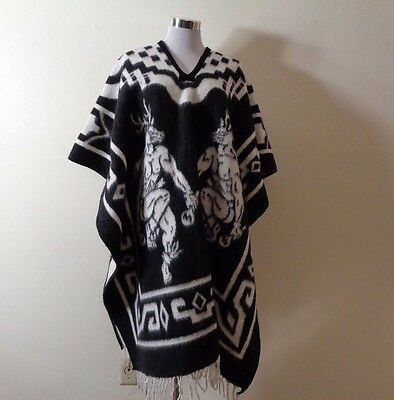 Vintage Made In Mexico Black White Tribal Dancer Print Blanket Reversible Poncho
