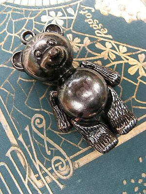 "Vintage 2"" tall silver jointed BEAR pendant SEATTLE Souvenir mid 1900's~so CUTE!"