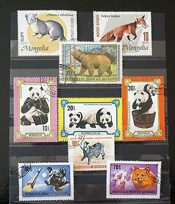 ANIMALS lot of 9 stamps Pandas, dogs and more  Mongolia Lot #6