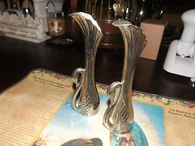 Vintage Real Pretty Silver  Pair Swan Vases ~ Excellent Condition ~