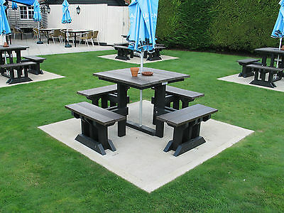 Pub Park Square Picnic Table & Chairs-100% Recycled Plastic-Maintenance Free