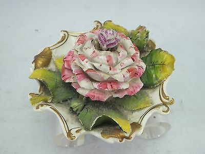 A STAFFORDSHIRE PORCELAIN FLORAL INK-WELL COALBROOKEDALE ?19thC
