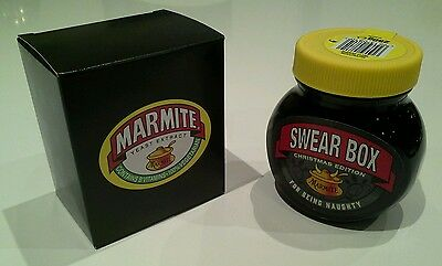 """Boxed Christmas MARMITE Jar """"Swear Box - For Being Naughty"""" - (250g) BBE July 17"""