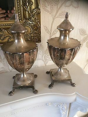 Old Vintage Pair Silver Plated Egg Coddler Vases  Cups Urns ? Lions Feet