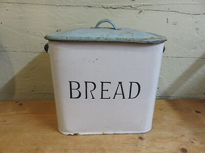 SUPERB ANTIQUE ENAMEL BREAD BIN WITH BLUE LID & HANDLES - CIRCA 1920s-1930s