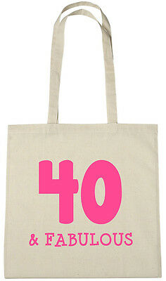 40 & Fabulous Tote Bag, 40th birthday gifts presents for 40 year old women her