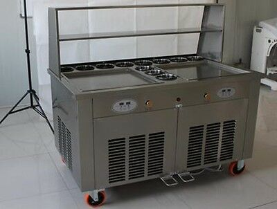 double square pan roll icecream thai machine with 11 compartment