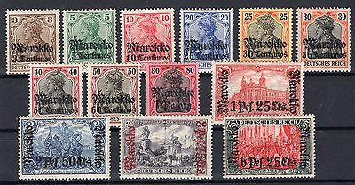 German Offices Morocco 1911 - Sc# 45 - 57 Mint Hinged Set