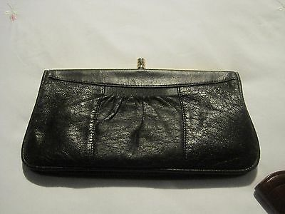 Vintage Black Clutch Bag From The 80's ~ Snap Shut Fastening