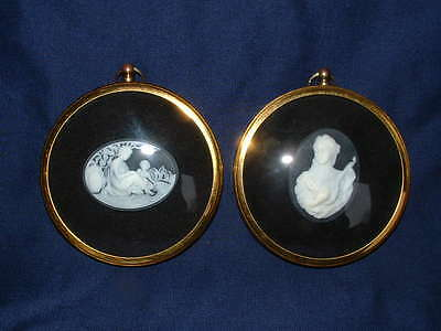Pair of Peter Bates Miniature Cameos    Mother & Child and The Lute Player