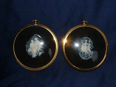 Pair of Peter Bates Miniature Cameos Three Graces & Boy and Girl