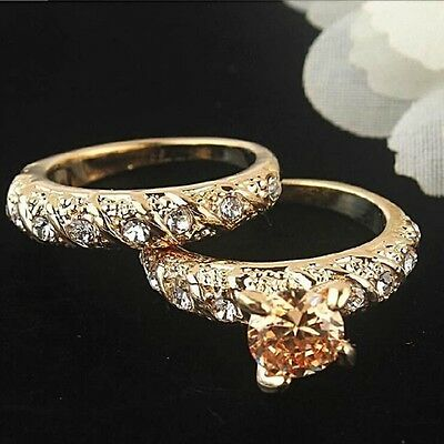 18ct Yellow Gold Filled 2 piece Ring set  Size 8
