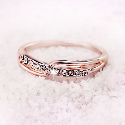 18ct Yellow Gold Filled White stones Dress Ring  Size 5 child size
