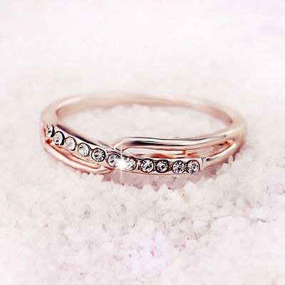 18ct Yellow Gold Filled White stones Dress Ring  Size 8
