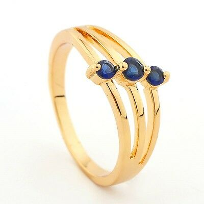 14ct Yellow Gold Filled Dark Blue 3 stone Dress Ring  Size 8
