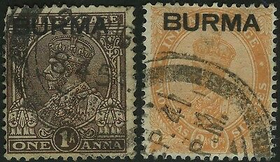 Burma Overprint On India Stamps Gb Colonial Kgv King George 5Th Francobolli