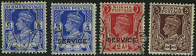 Burma India Stamps Kgvi King George 6 Gb Uk Colony Service Overprints & Normal