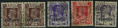India Burma Service Stamps Kgvi King George 6Th Gb Colony Timbres Francobolli