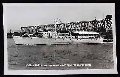 Nice Vintage Real Photo Card Golden Galleon Leaving Haven Bridge Great Yarmouth