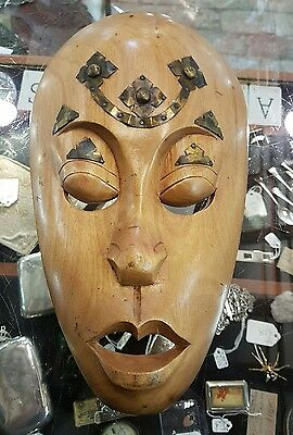 Wooden Tribal Mask Metal Work to face lotB1