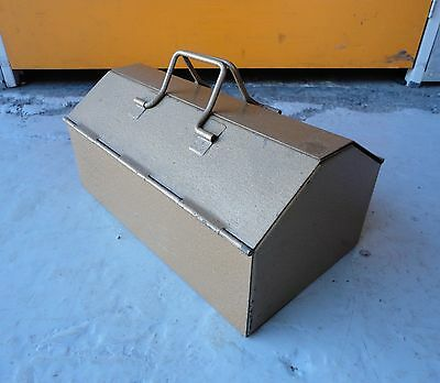 Small Heavy Vintage Gold Metal Tool Box With Removable Carry Tray