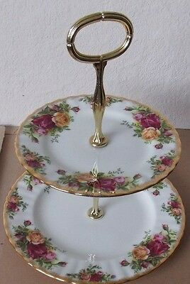 """Royal Albert Two Tier Cake Plate """"old Country Roses"""""""