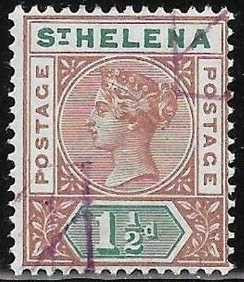 St HELENA    QV  1890   1 1/2d  BROWN & GREEN   FINE USED
