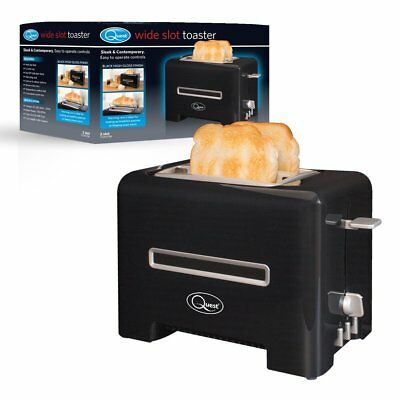 Premium 870W Wide 2 Slice Black Toaster - Reheat Defrost Browning - Warming Tray