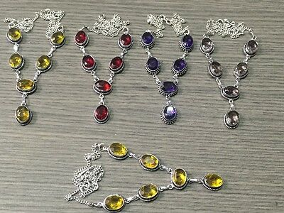 Wholesale Lot 5 pcs Citrine & Multi-Stone.925 Sterling Silver Plated Necklace