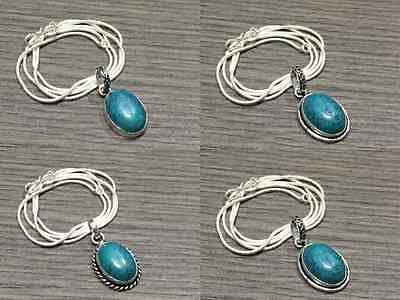 WHOLESALE LOT 4 pcs TURQUOISE STONE.925 SILVER OVERLAY PENDANT CHAIN NECKLACE