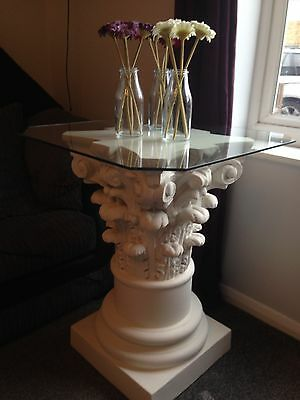Side Table, Lamp Table Or Plant Stand With Glass Top.